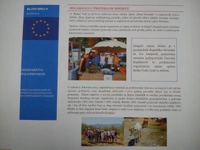 "LAG ""Adrion"" u biltenu Ministarstva poljoprivrede za rujan 2014.g."
